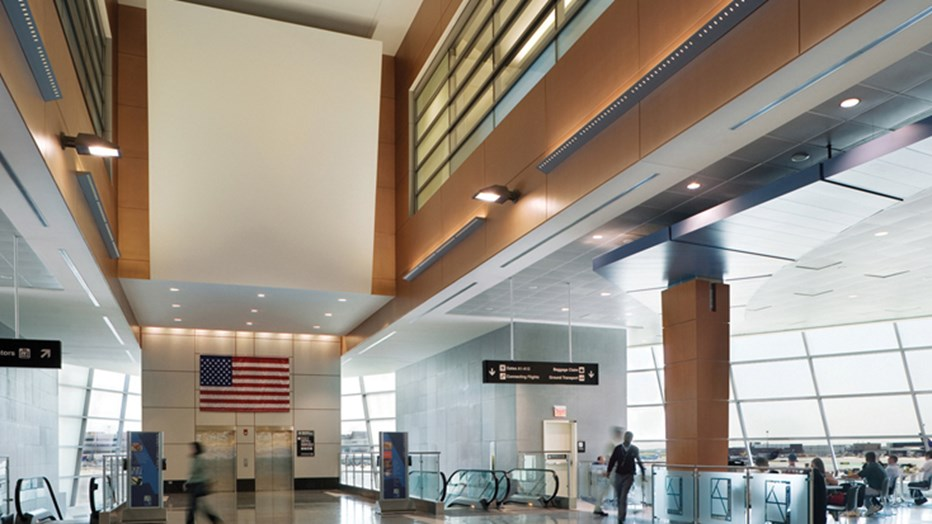 Boston Logan International Airport was the first airport terminal in the world to receive LEED® certification. To help meet the client's goal, Skanska reused, recycled or diverted waste from landfills, totaling 75 percent of the construction waste, and ensured 10 percent of all materials used were recycled products. (Photo credit: Jeff Adams)