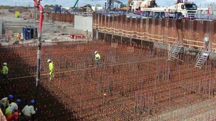 Reinforcement for the 400 mm bottom slab in the ESS Target station.