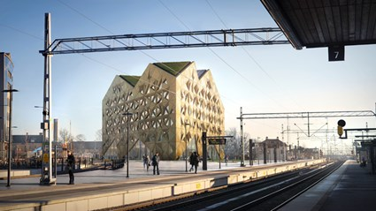 Juvelen will be the first structure that travelers see when trains roll into Uppsala.