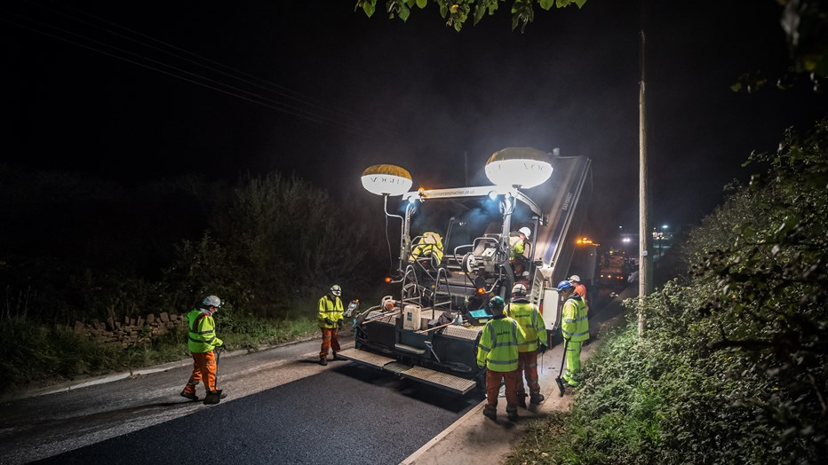 Road resurfacing in North Somerset