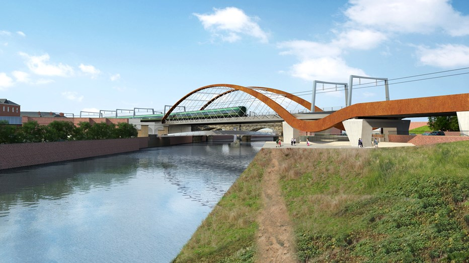 Ordsall Chord network arch bridge. CGI credit: Network Rail.